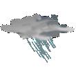 Nuvoloso con piogge da moderate a intense